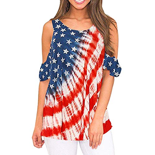 Women 4th of July Tops,SIN+MON Women Summer Blouse America Flag Print Cold Shoulder Shirt Short Sleeve Pleated Pullover Red ()