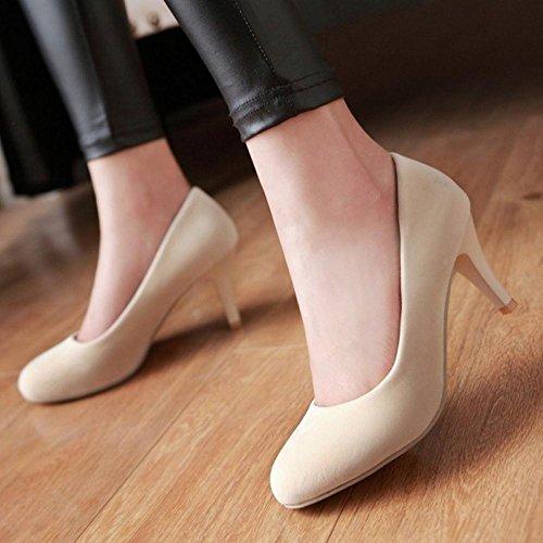 COOLCEPT Zapato Mujer Simple Tacon de Aguja Sin Cordones Tacon Ancho medio Court Zapatos Beige