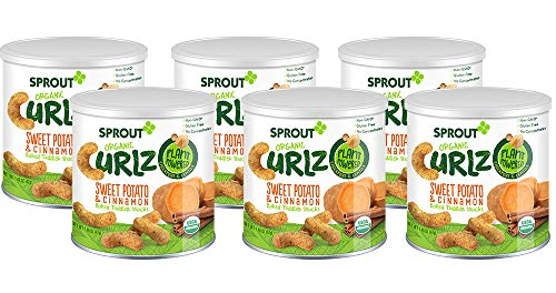 Snacks Potato (Sprout Organic Baby Food, Sprout Organic Curlz Toddler Snacks, Sweet Potato & Cinnamon, 1.48 Ounce Canister (Pack of 6), Plant Powered, Gluten Free, USDA Certified Organic, Nothing Artificial)