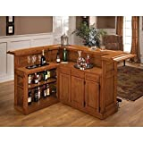 Hillsdale Furniture 62576AXOAK Classic 78 Large Bar with 12 Wine Bottle Storage Side Bar Foot Rest China Oak and Wood Veneer MDF Construction in Oak