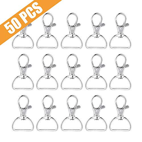 Metal Swivel Clasps Lanyard Snap Hook Lobster Claw Clasp for Jewelry Findings, Key Chain Clip, DIY Crafts. Pack of 50]()