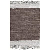Safavieh Vintage Leather Collection VTL310B Hand-Woven Light Grey and Dark Brown Area Rug (2 x 3)
