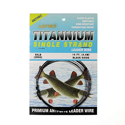 (WAIYE 12LB 18LB 38LB 65LB 15FT No Kink Black Titanium Fishing Leader Wire (65LB))