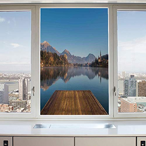 3D Decorative Privacy Window Films,Old Deck by the River with Mountains Landscape Fall in a Village Rural Scenic Print,No-Glue Self Static Cling Glass film for Home Bedroom Bathroom Kitchen Office 17.