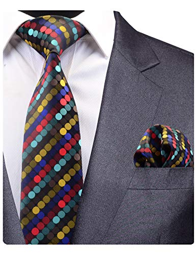 (GUSLESON Brand New Colorful Dots Silk Tie and Pocket Square Set Mens Wedding Necktie (0779-04)))