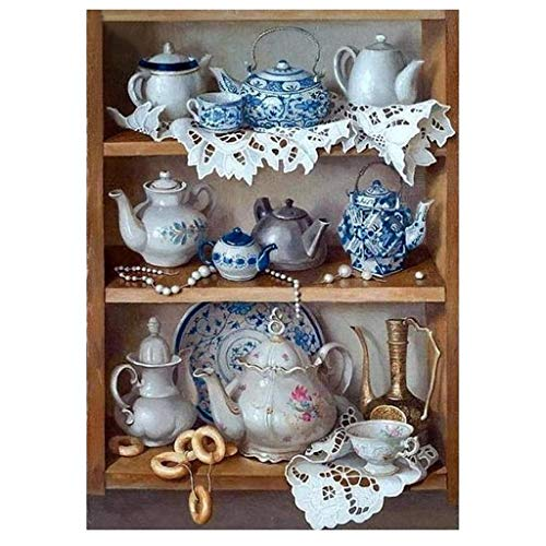 Diamond Painting by Number Kits, Crystal Rhinestone Diamond Embroidery Paintings Pictures Art Craft,Tea Set