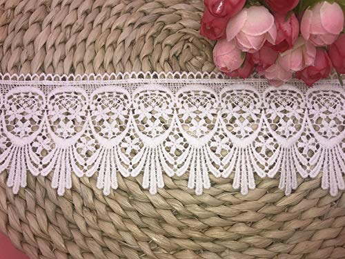 7CM Width Europe Venise Pattern Inelastic Embroidery Trims,Curtain Tablecloth Slipcover Bridal DIY Clothing/Accessories.(4 Yards in one Package) (White)