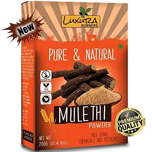 Licorice Body - Luxura Sciences Natural Mulethi Powder For Skin Whitening 200 Grams, Licorice Powder For Body, Skin, and Hair.