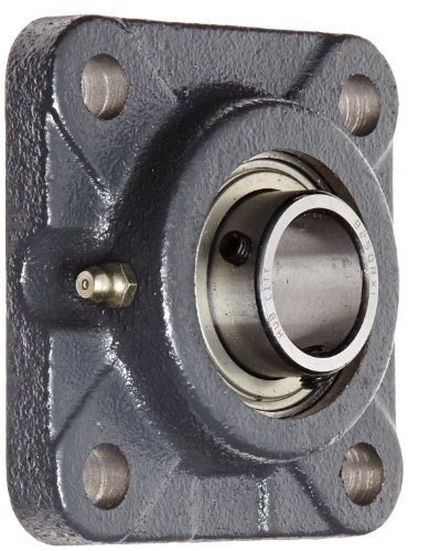 Hub City FB250URX1 Flange Block Mounted Bearing, 4 Bolt, Normal Duty, Relube, Setscrew Locking Collar, Narrow Inner Race, Cast Iron Housing, 1