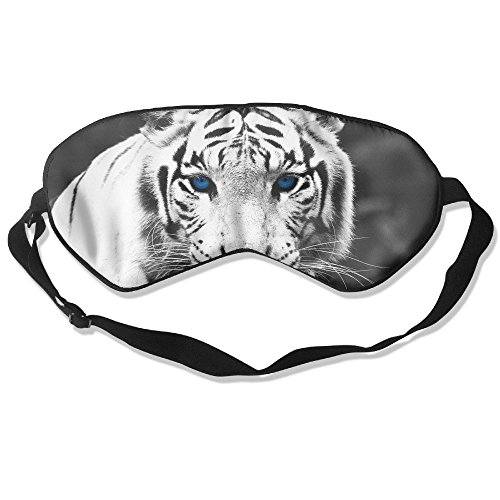 Longnankejilifeaa Sleep Eyes Mask Covers White Tiger Eyes Artwork Silk Sleeping Blindfold Luxury Adjustable Strap Eyeshade For Travelling Shift Work Night Noon Nap Yoga