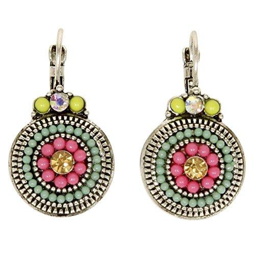Women's Pink Colorful Beaded Drop Earrings (Blue Topaz Lightweight Earrings)