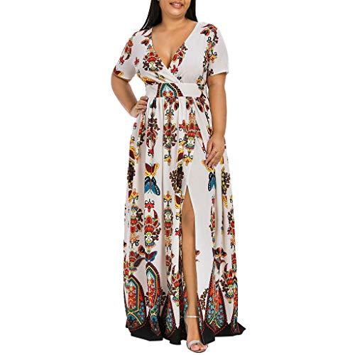 CCatyam Plus Size Dresses for Women, Skirt V Neck Print Split Maxi Sexy Casual Party Cocktail Fashion White