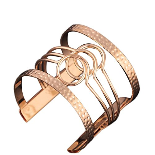 Inkach Fashion Europe Irregular Pierced Graphic Metal Cuff Armbands Bracelet (Gold) (Arm Band Jewelry)