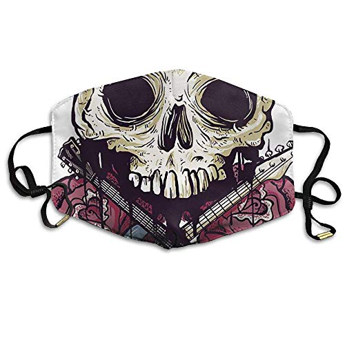 (Floral Calavera Skull Musica Unisex Face Chic Mask Earloop Dust Chic Mask Cycling Breathable Chic)