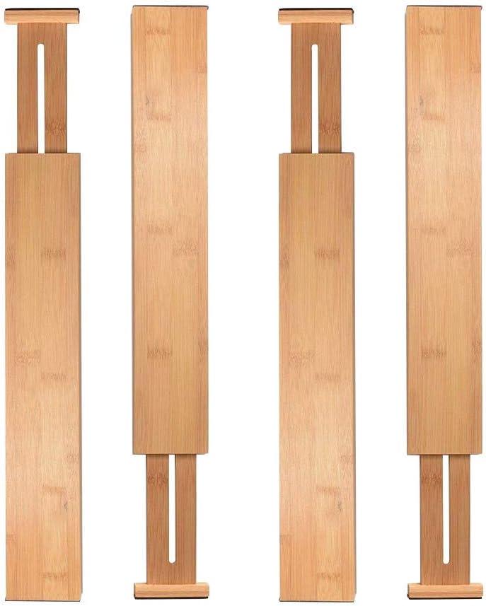 gshhd0 Tiroir S/éparateur Bambou Rangement Organisateur 4 Pack Ensemble Expansible Diviseur pour Chambre Commode Dessin /& Cuisine R/églable en Bois Ustensile,sous-V/êtements,Chaussette,V/êtements