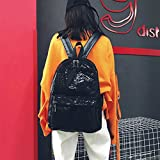 DDLBiz Women's Girls Fashion Shinning Glitter Bling Backpack Preppy Style Sequins Travel Satchel (Black)