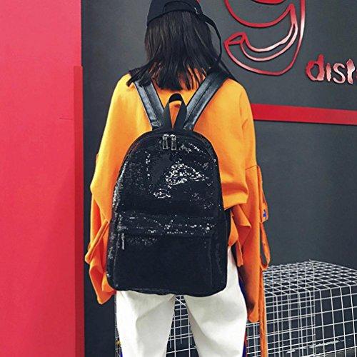 DDLBiz Women's Girls Fashion Shinning Glitter Bling Backpack Preppy Style Sequins Travel Satchel (Black) by DDLBiz