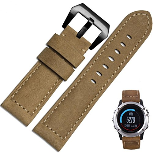Paymenow Genuine Leather Watch Band Replacement Band Wrist Strap Wristband Replacement Strap Bracelet with Lugs Adapters for Garmin Fenix 3 (khaki) - Genuine Molding Clip