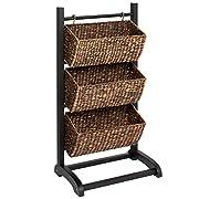 Best Choice Products 3-Tier Metal Frame Water Hyacinth Display Storage Organizer