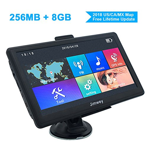 Jimwey 7 inch 8GB 256MB GPS Navigation System with 2018 Maps, Vehicle GPS Navigator for Car/Truck and More, Lifetime Free Map Updates by Jimwey