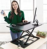 Stand Steady 55'' Desk Shelf - Instantly Add a Monitor Stand to Practically Any Stand Up Desk! Premium Computer Monitor Riser Easily Installs with Clamp (Single Level - Black)