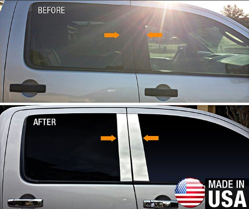 Made in USA! Works with 2004-2015 Nissan Titan Crew Cab 4PC Stainless Steel Chrome Pillar Post Trim ()