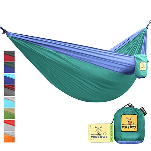 Hammock For Camping Single   Double Hammocks   Top Rated Best Quality Gear For The Outdoors Backpacking Survival Or Travel   Portable Lightweight Parachute Nylon So Green   Blue