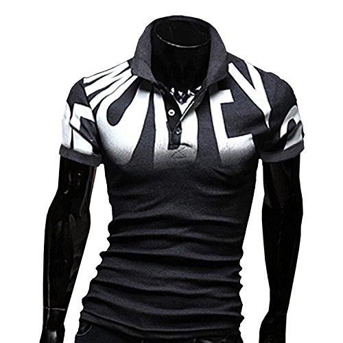 AMBLY ポロシャツ メンズ Tシャツ カットソー 半袖 ロンT ヴィンテージ ゴルフウェア トップス カジュアル コーデ 黒 グレー 春 夏 秋 メンズファッション