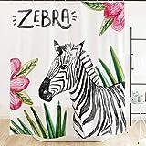 Pink Zebra Print Shower Curtain Ofat Home Animal Watercolor Zebra Shower Curtain Hooks 71''x71'' Tropical Leaves Pink Flowers Black White Fabric Kids Home Bathroom Decor Accessories