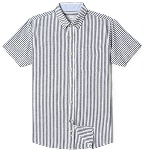 (MOCOTONO Chain Stitch Mens Short Sleeve Washed Cotton Stripe Casual Button-Down Shirt Black X-Large)