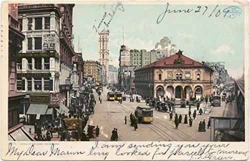Vintage Postcard Print | Herald Square, New York, N.Y., 1907 | Historical Antique Fine Art - Square Herald New Ny York