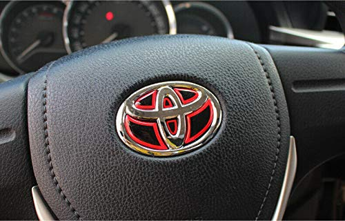 Sunyat Racing Red Trim Decal Sticker Rear Emblem Logo for Toyota Steering Wheels ()