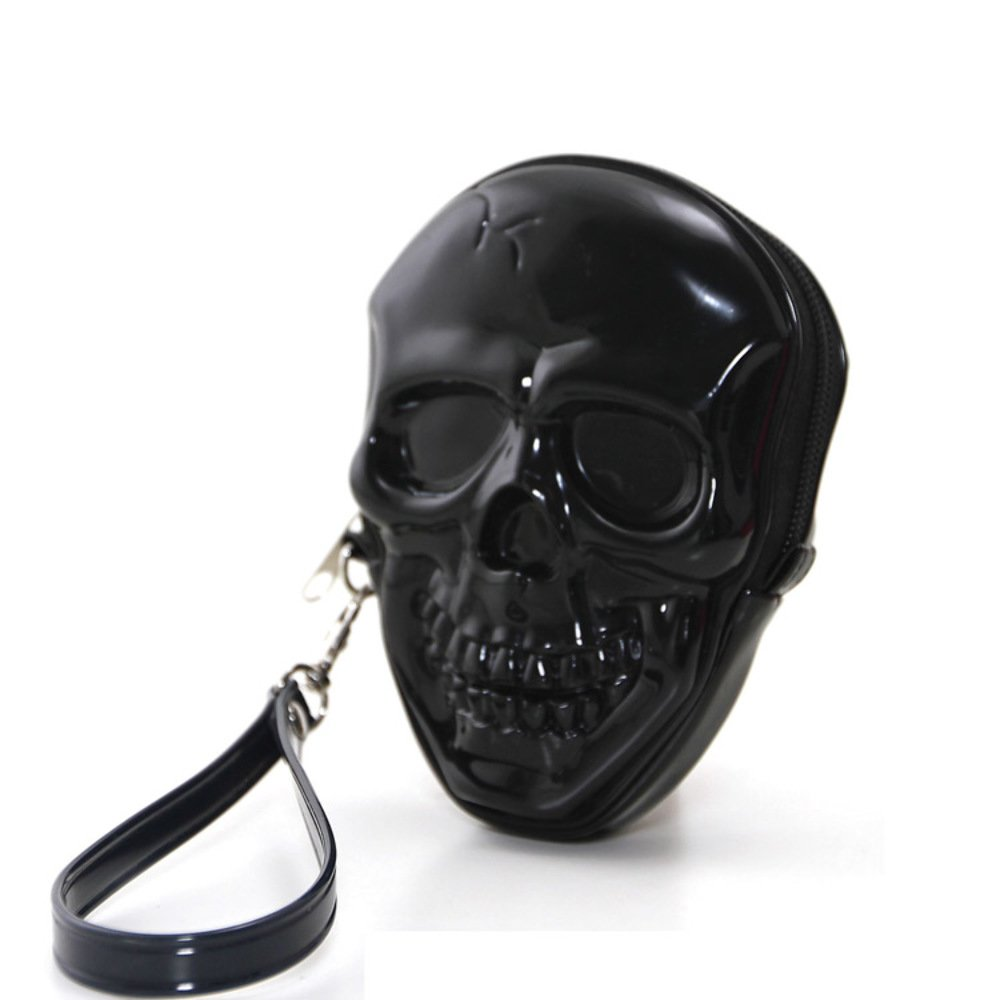 Unique Smiling Skull Head Bone Zippered Wristlet Far Nine