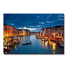 SimonfineUs NightView On Grand Canal At Night Venice Italy The Basilica Of Santa Maria Della Salute Canvas Print Wall Art Painting For Home Decor 16x24inch wood Framed