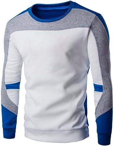 Tops De Manga Larga para Hombres Hombre De Jerseys Cálidos Camisa De Joven Cuello Redondo Tops Clásicos De Moda Jersey De Punto Patchwork Camiseta Camisas Delgadas: Amazon.es: Ropa y accesorios