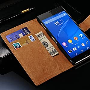 Wallet Phone Bag For Sony Xperia Z3 Vintage Genuine Leather Case With Stand 2 Card Holders 1 Bill Site Drop Ship --- Color:rose