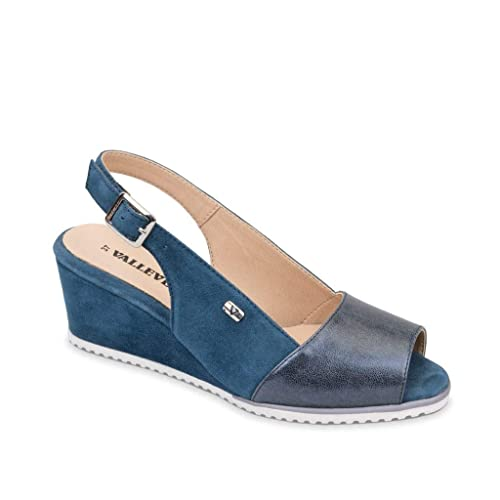 085b335eea VALLEVERDE 36211 Scarpe Sandali Zeppa Donna Pelle camoscio Blu ...