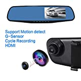 isYoung 4.3inch HD Rearview Dash Cam Mirror Cam Dual Channel Car Video Recorder with 170-degree Wide Angle Lens 1080P Car Video Camera with G-Sensor for Auto-Recording