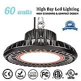MKLOT UFO LED High Bay Light -60W, 9.25'' Wide, 6000K Daylight White, IP65 Waterproof, Warehouse Lights, Industrial Grade Area Workshop Hanging High Bay LED Lighting Fixtures for Garage Commercial Area
