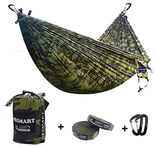 SEGMART Double Hammock with 2 Tree Straps & Carabiners - Camouflage