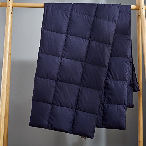 Puredown Packable Down Throw Blanket, Down-proof Fabric, 50x70'', Navy