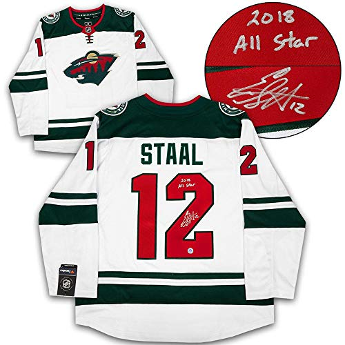 (Signed Eric Staal Jersey - White Fanatics 2018 All Star Note - Autographed NHL Jerseys)