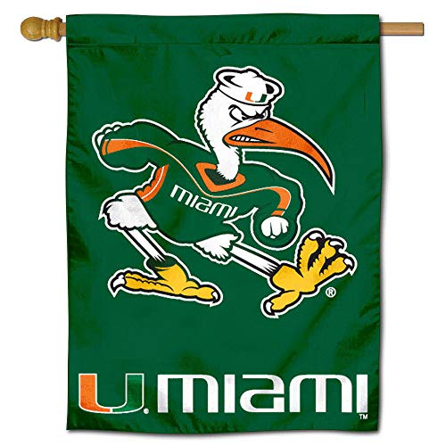 (College Flags and Banners Co. University of Miami Hurricanes House Flag)