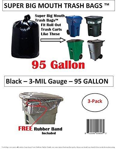 Amazon.com: 95 Galón Super Big Mouth bolsas de basura 3-Pack ...