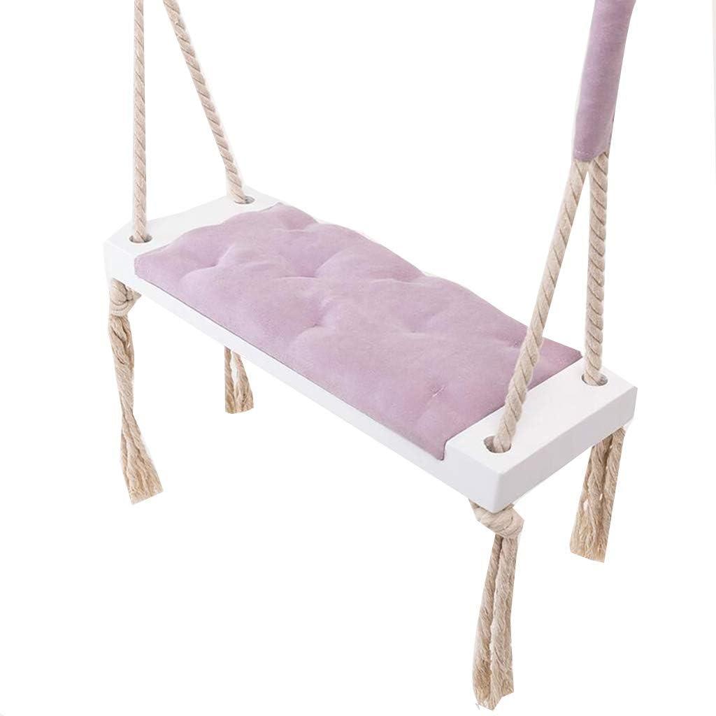 Altalena per bambini in legno altalena per bambini per esterni e interni 21x8x2 pollici sedia per altalena per bambini con cuscino in cotone morbido corda per giardino domestico viola 54x19,5x4 cm