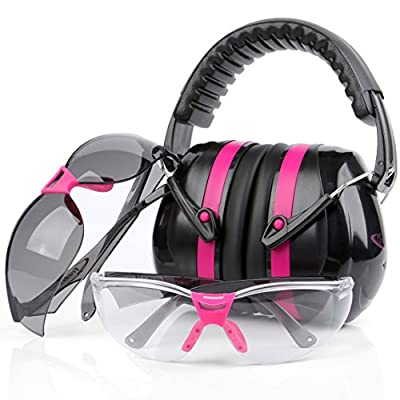 Tradesmart Pink Ear Muffs & Clear / Tinted Gun Safety Glasses - UV400 . Anti Fog & Anti Scratch with Microfiber pouch | Gun Range Ear Protection & Eye Protection for Shooting