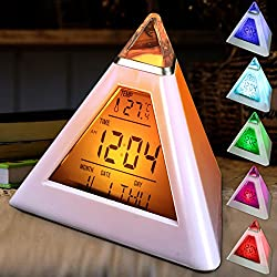 Jeteven Alarm Clock LED Wake Up Desk Clock, 7 Colors Changing Night light with Temperature Display Sleeping Function Pyramid Digital Clock for Adults, Kids, Teens