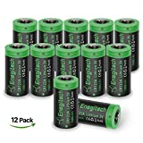 CR123A Lithium Batteries, Enegitech 12 Pack 3V 1300mAh Non-rechargeable with PTC Protection for Flashlights, Laser Pointer Light Meters, Remote Toys, NOT Fit Arlo Camera