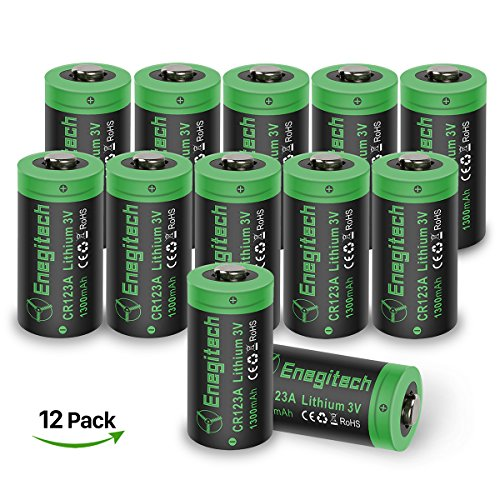 Price comparison product image CR123A Lithium Batteries Enegitech 12 Pack 3V 1300mAh Non-rechargeable with PTC Protection for Flashlights,  Laser Pointer Light Meters,  Remote Toys,  NOT Fit Arlo Camera