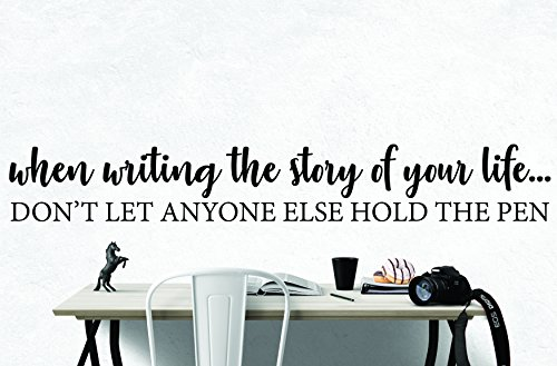 My Vinyl Story When Writing The Story Inspirational Wall Decal Motivational Wall Art Quote for Home Bedroom Bathroom Decor Encouragement Gift 42x7 Inches